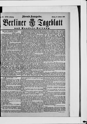 Berliner Tageblatt und Handels-Zeitung vom 25.02.1889
