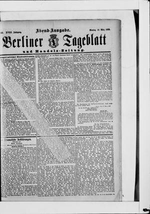 Berliner Tageblatt und Handels-Zeitung vom 18.03.1889