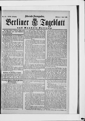 Berliner Tageblatt und Handels-Zeitung vom 03.04.1889