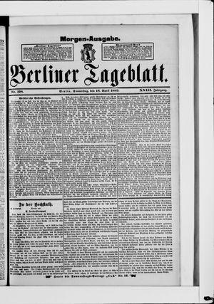 Berliner Tageblatt und Handels-Zeitung vom 18.04.1889