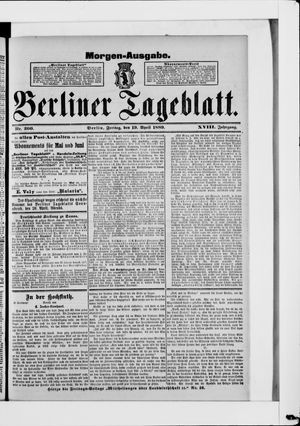 Berliner Tageblatt und Handels-Zeitung vom 19.04.1889