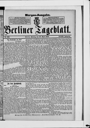 Berliner Tageblatt und Handels-Zeitung vom 28.04.1889