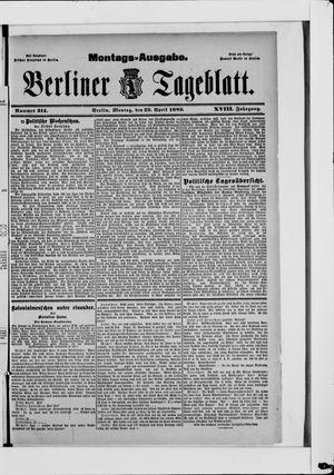 Berliner Tageblatt und Handels-Zeitung on Apr 29, 1889