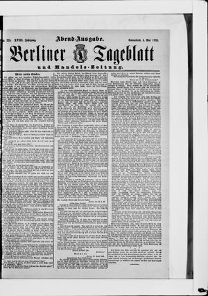 Berliner Tageblatt und Handels-Zeitung vom 04.05.1889