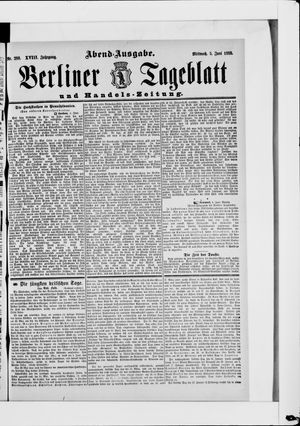 Berliner Tageblatt und Handels-Zeitung vom 05.06.1889