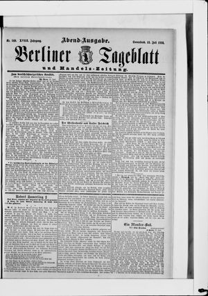 Berliner Tageblatt und Handels-Zeitung vom 13.07.1889