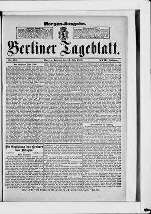 Berliner Tageblatt und Handels-Zeitung vom 14.07.1889