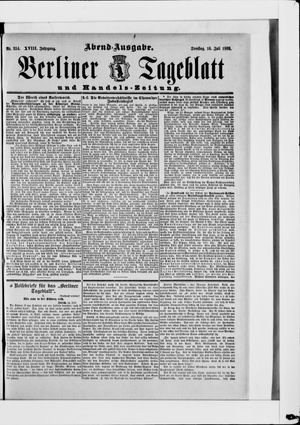 Berliner Tageblatt und Handels-Zeitung on Jul 16, 1889
