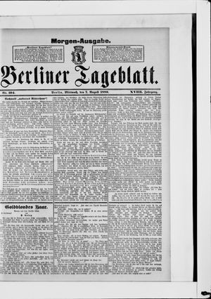 Berliner Tageblatt und Handels-Zeitung vom 07.08.1889