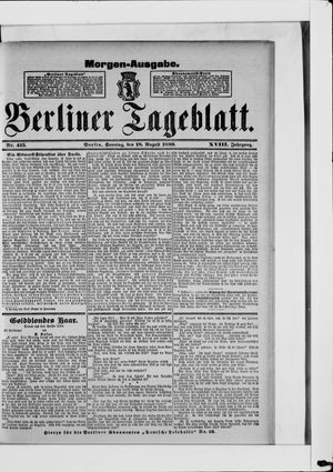 Berliner Tageblatt und Handels-Zeitung vom 18.08.1889
