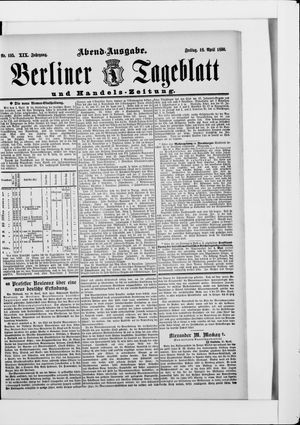 Berliner Tageblatt und Handels-Zeitung vom 18.04.1890