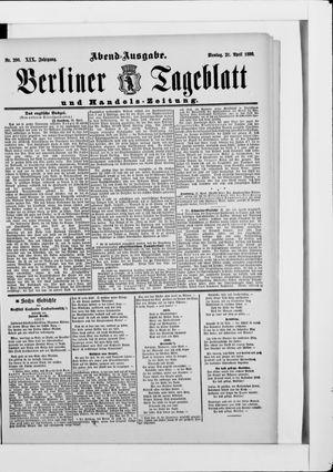 Berliner Tageblatt und Handels-Zeitung vom 21.04.1890