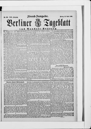Berliner Tageblatt und Handels-Zeitung vom 25.04.1890