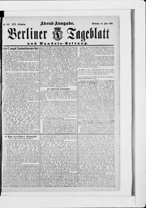 Berliner Tageblatt und Handels-Zeitung vom 18.06.1890