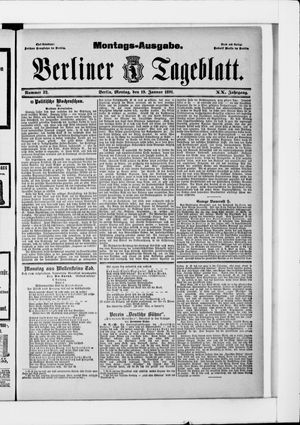 Berliner Tageblatt und Handels-Zeitung vom 19.01.1891