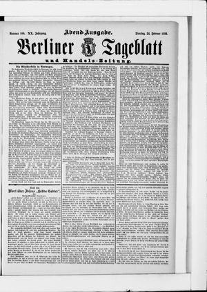 Berliner Tageblatt und Handels-Zeitung vom 24.02.1891