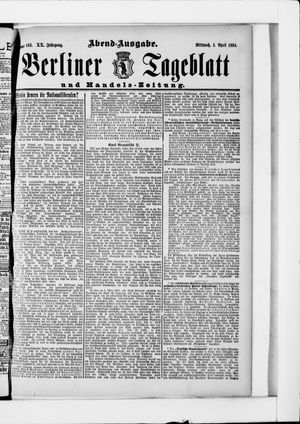 Berliner Tageblatt und Handels-Zeitung vom 01.04.1891