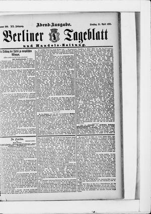 Berliner Tageblatt und Handels-Zeitung vom 21.04.1891