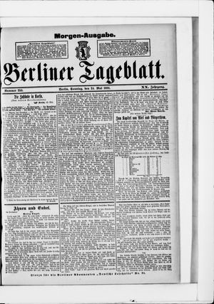 Berliner Tageblatt und Handels-Zeitung vom 24.05.1891