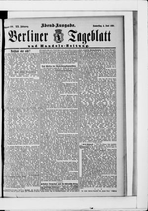 Berliner Tageblatt und Handels-Zeitung on Jun 4, 1891