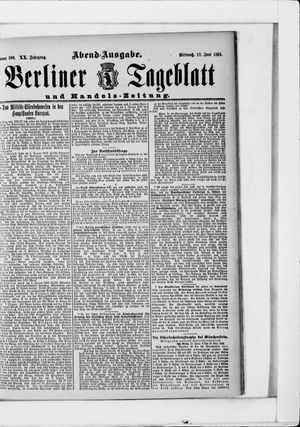 Berliner Tageblatt und Handels-Zeitung on Jun 17, 1891