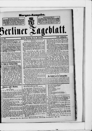 Berliner Tageblatt und Handels-Zeitung vom 21.06.1891