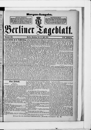 Berliner Tageblatt und Handels-Zeitung vom 19.07.1891