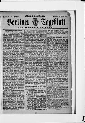 Berliner Tageblatt und Handels-Zeitung vom 25.02.1892