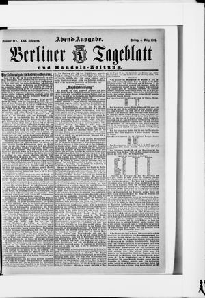 Berliner Tageblatt und Handels-Zeitung on Mar 4, 1892