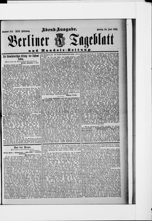 Berliner Tageblatt und Handels-Zeitung vom 24.06.1892
