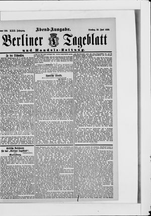 Berliner Tageblatt und Handels-Zeitung vom 20.06.1893