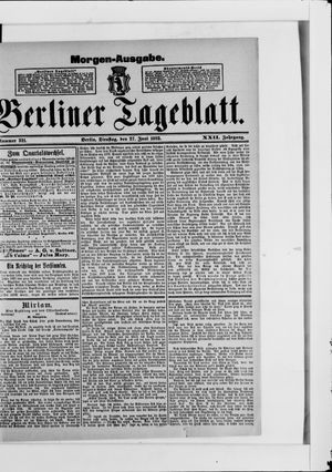 Berliner Tageblatt und Handels-Zeitung vom 27.06.1893
