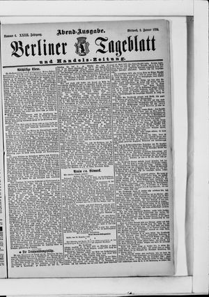 Berliner Tageblatt und Handels-Zeitung vom 03.01.1894