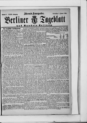Berliner Tageblatt und Handels-Zeitung vom 04.01.1894