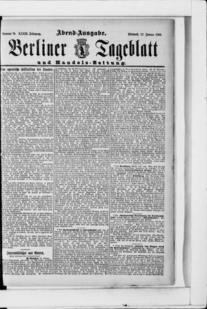 Berliner Tageblatt und Handels-Zeitung vom 17.01.1894