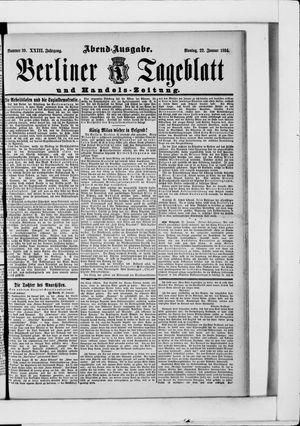 Berliner Tageblatt und Handels-Zeitung vom 22.01.1894