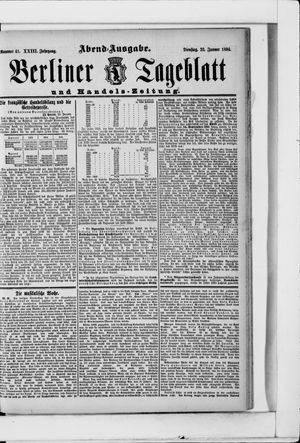 Berliner Tageblatt und Handels-Zeitung vom 23.01.1894