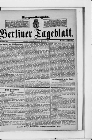 Berliner Tageblatt und Handels-Zeitung vom 01.02.1894