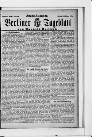 Berliner Tageblatt und Handels-Zeitung vom 14.02.1894