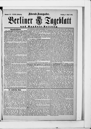Berliner Tageblatt und Handels-Zeitung on Apr 3, 1894