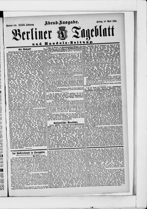 Berliner Tageblatt und Handels-Zeitung vom 13.04.1894