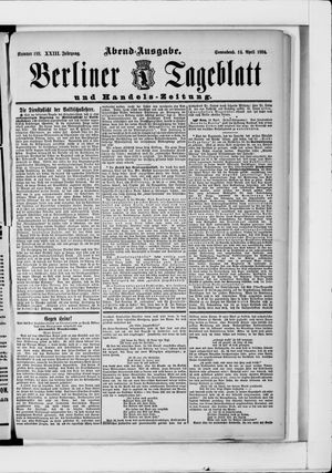 Berliner Tageblatt und Handels-Zeitung on Apr 14, 1894