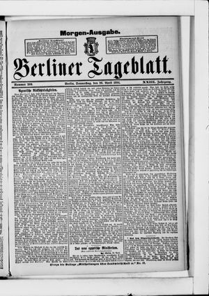Berliner Tageblatt und Handels-Zeitung vom 26.04.1894