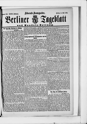 Berliner Tageblatt und Handels-Zeitung vom 11.05.1894