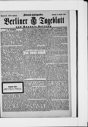 Berliner Tageblatt und Handels-Zeitung vom 27.02.1895