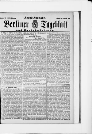 Berliner Tageblatt und Handels-Zeitung vom 11.02.1896