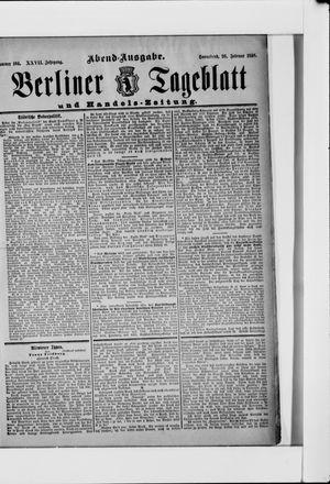 Berliner Tageblatt und Handels-Zeitung vom 26.02.1898