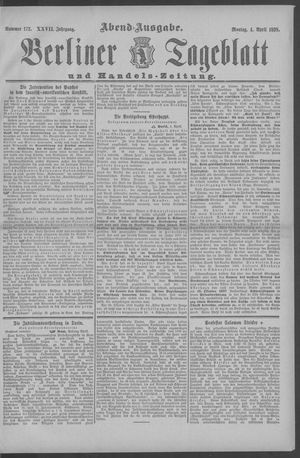 Berliner Tageblatt und Handels-Zeitung vom 04.04.1898