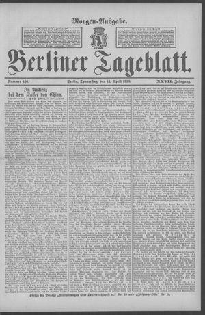 Berliner Tageblatt und Handels-Zeitung on Apr 14, 1898
