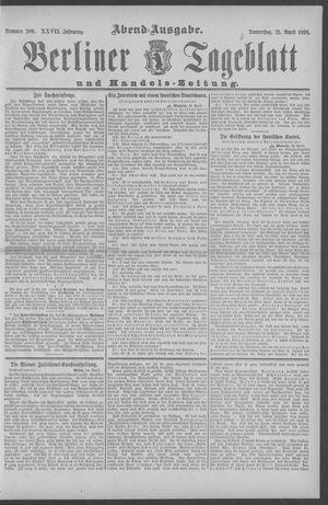 Berliner Tageblatt und Handels-Zeitung vom 21.04.1898
